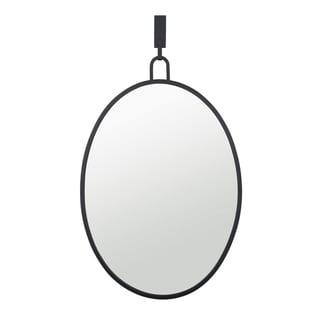 Stopwatch Black Oval Powder Room Mirror