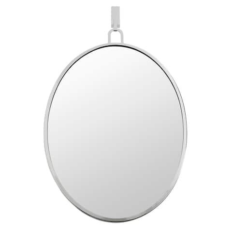 Stopwatch Polished Nickel Oval Powder Room Mirror