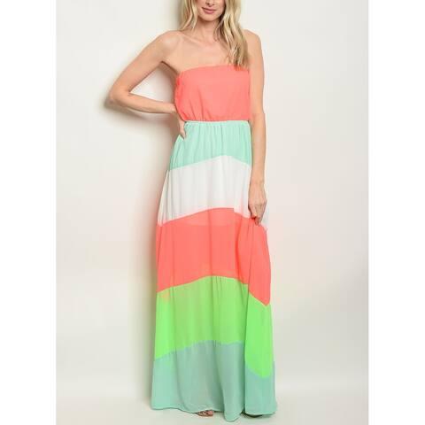 JED Women's Colorblock Flowy Strapless Maxi Dress