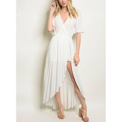JED Women's V-Neck Short Sleeve Dress Romper