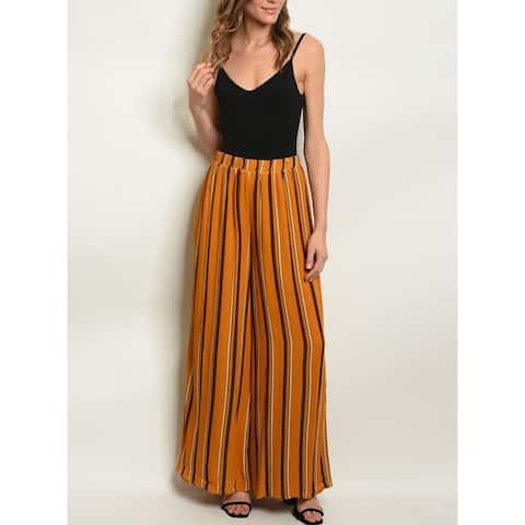 JED Women's High Waist Stripes Wide Leg Palazzo Pants
