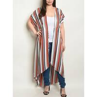 JED Women's Plus Size Short Sleeve Stripes Maxi Kimono Top