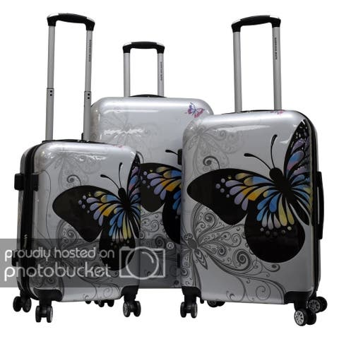 """Karriage-Mate Polycarbonate 3-piece Hardside Spinner Luggage Set- Butterfly - 28"""" 24"""" 20"""""""