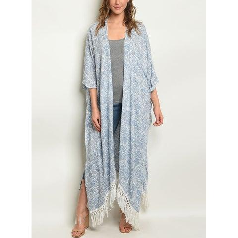 JED Women's Fringe Paisley Print Maxi Kimono Top