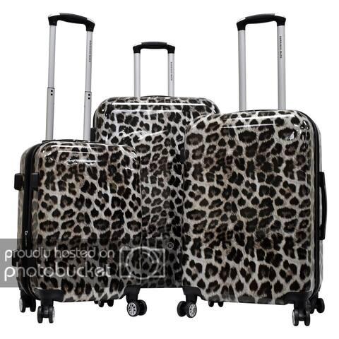 "Karriage-Mate Polycarbonate 3-piece Hardside Spinner Luggage Set- Leopard - 28"" 24"" 20"""