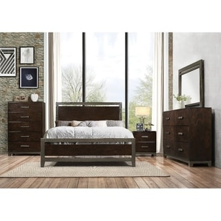 Ulcinj 5 Pieces Transitional Bedroom Set in Rich Walnut Finish