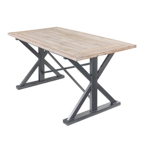 Dawson Rustic Wood Dining Table - Brown