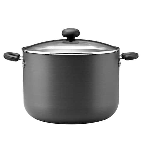 Circulon Classic Hard-Anodized Nonstick 10 qt. Covered Stockpot, Black