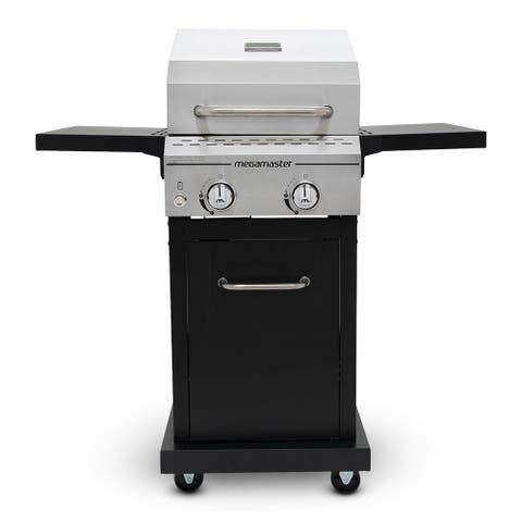 Megamaster 2 Burner Propane Gas Grill stainless steel lid, Black