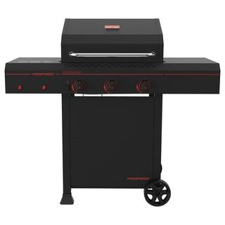 Megamaster 3 Burner propane gas grill with front/rear panel, Black