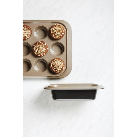 Anolon Eminence Bakeware 12-Cup Muffin Pan, Onyx with Umber Interior - Onyx with Umber Interior