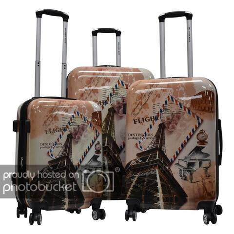 "Karriage-Mate Polycarbonate 3-piece Hardside Spinner Luggage Set- Paris & Envelope - 28"" 24"" 20"""