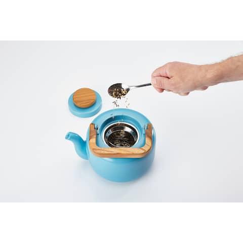 BonJour Ceramic 8-Demitasse-Cup Ceramic Teapot with Infuser, Aqua