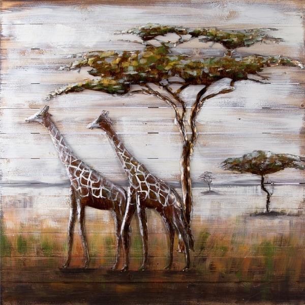 Serengeti Giraffe Metal on Wood Wall Art