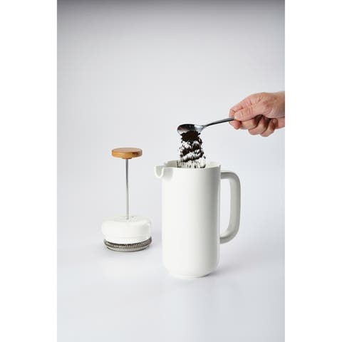 BonJour Ceramic 8-Demitasse-Cup Ceramic French Press, Matte White