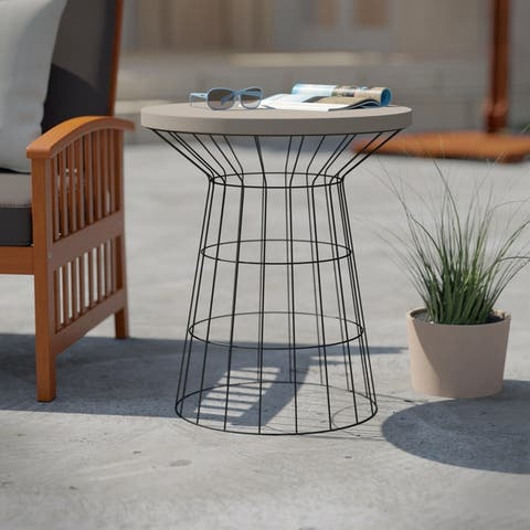 Corina Black/ Gray Cement Outdoor Accent Table by Havenside Home