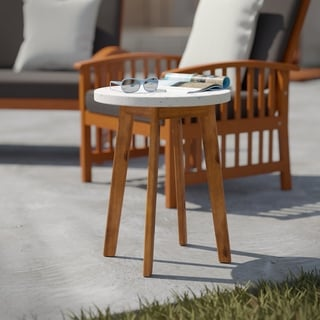 Havenside Home Larisse Transitional Natural/ Multi-colored Terrazzo Outdoor Accent Table