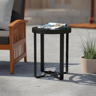 Havenside Home Driselle Transitional Black Metal Outdoor End Table