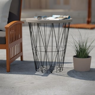 Havenside Home Rajita Industrial Black/ Cement Gray Cement Outdoor Accent Table