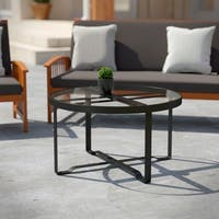Havenside Home Driselle Transitional Black Metal Outdoor Coffee Table