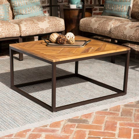 Brosnan Black/ Natural Wood Outdoor Coffee Table by Havenside Home