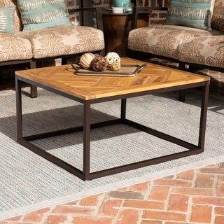 Havenside Home Brosnan Contemporary Black/ Natural Wood Outdoor Coffee Table