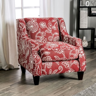Gracewood Hollow Zaimovic Red Floral Chenille Accent Chair