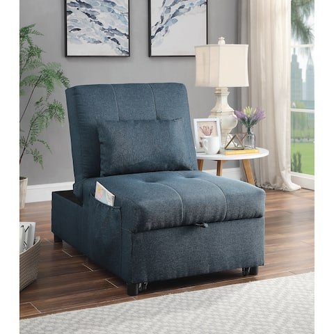 Yeats Contemporary Blue Futon with Pillow by FOA