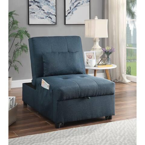 Furniture of America Peso Contemporary Blue Linen Futon with Pillow