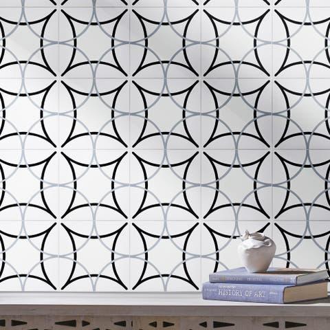 Handmade Sebta in White, Black, Grey Tile, Pack of 12 (Morocco)
