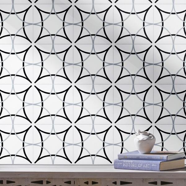 Handmade Sebta in White, Black, Grey Tile, Pack of 12 (Morocco). Opens flyout.