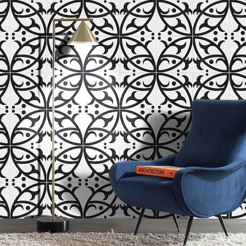 Handmade Hocima in White and Black Tile, Pack of 12 (Morocco)