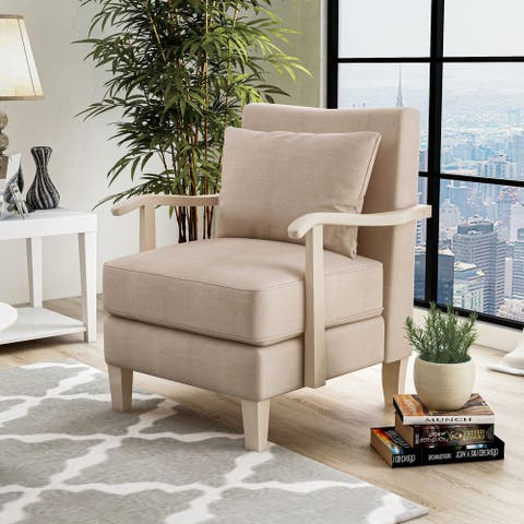 Furniture of America Cova Contemporary Beige Fabric Vinyl Accent Chair