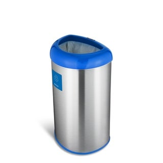 Nine Stars open top stainless steel trash can with blue trim and recycle magnet