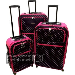 Link to Karriage-Mate Extra Large Polka Dots 3-piece Expandable Spinner Luggage Set Similar Items in Luggage Sets