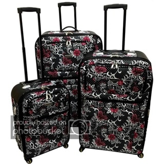 Karriage-Mate Extra Large Paisley & Butterfly 3-piece Expandable Spinner Luggage Set