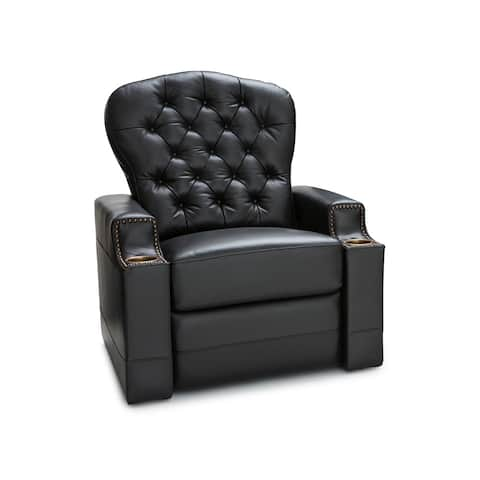 Seatcraft Imperial Home Theater Seating Leather Power Recliner with Tufted Backrest, USB Charging, and Cup Holders