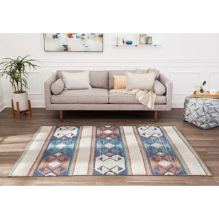 Jani Aztec Stripe Beige Multi Over Tufted Polyester Chindi Area Rug