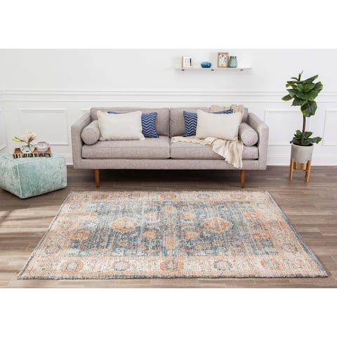 Jani Lucy Blue Floral Jute/Chenille Area Rug