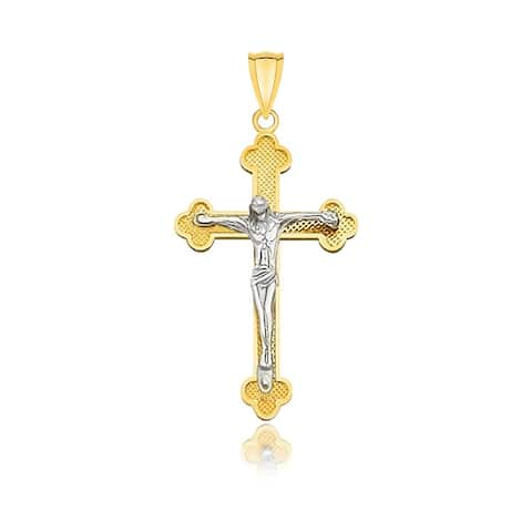 14k Two-Tone Gold Small Budded Style Cross with Figure Pendant