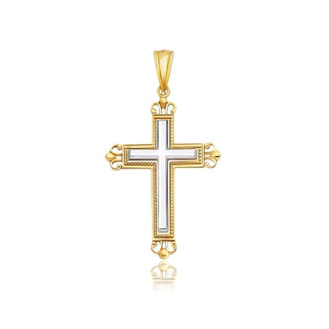 14k Two-Tone Gold Cross Pendant with an Ornate Budded Style