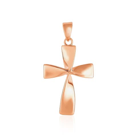 Flat Twisted Cross Pendant in 14k Rose Gold
