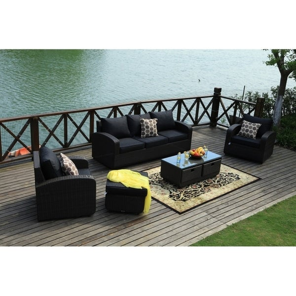 Shop 5pcs Wicker Patio Sofa Set Outdoor Chat Sets With Drawer Table