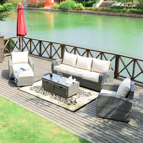 Stillwater 5-piece Wicker Patio Sofa Set Outdoor Chat Sets with Drawer Table by Havenside Home