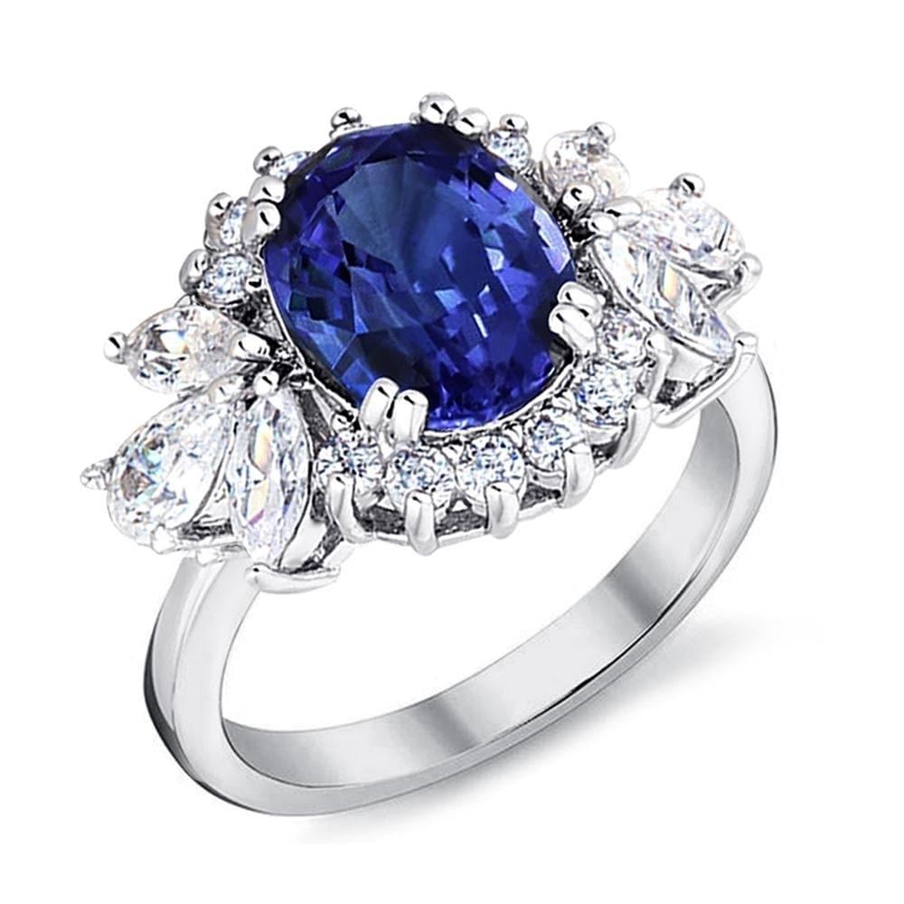 Size 9 Vintage CZ Round Black Sapphire Engagement Ring Black Rhodium Plated