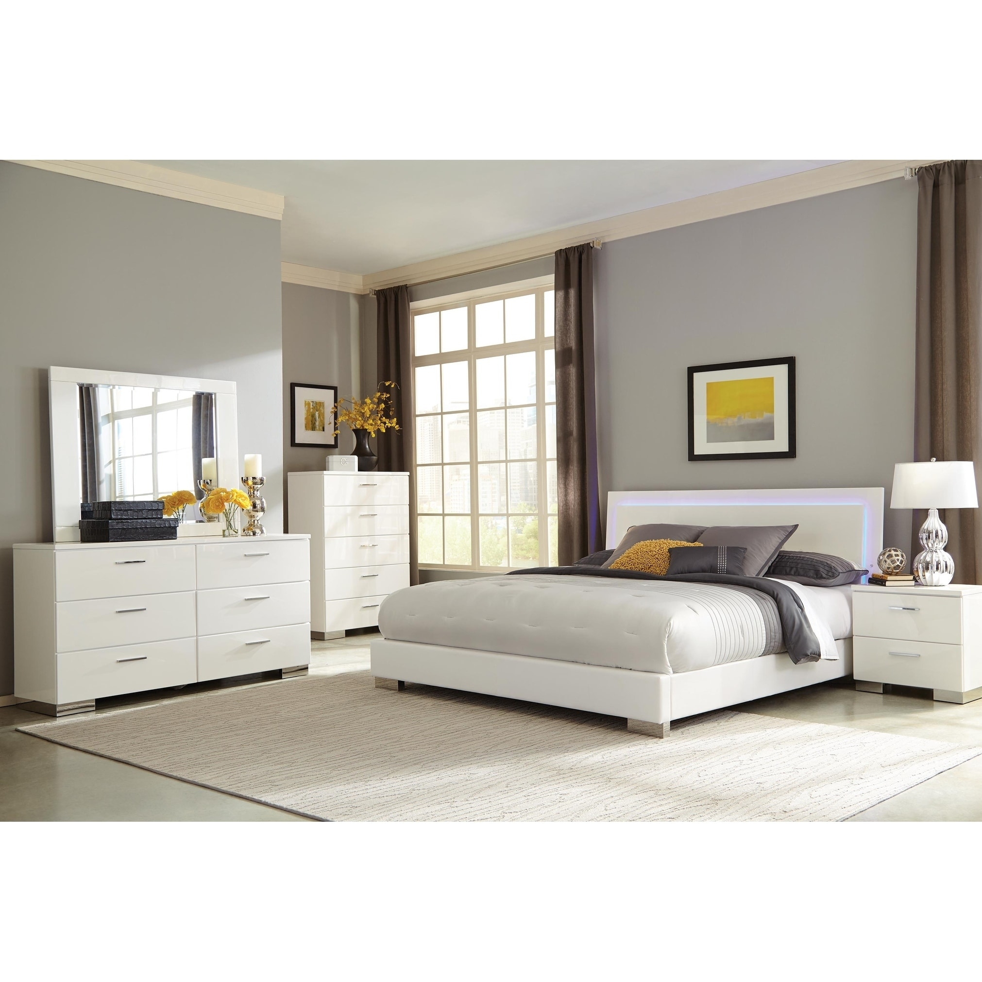 Arden Contemporary Glossy White 4 Piece Bedroom Set With Led Light