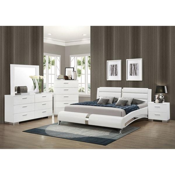 Escalon Contemporary Glossy White 4-piece Bedroom Set
