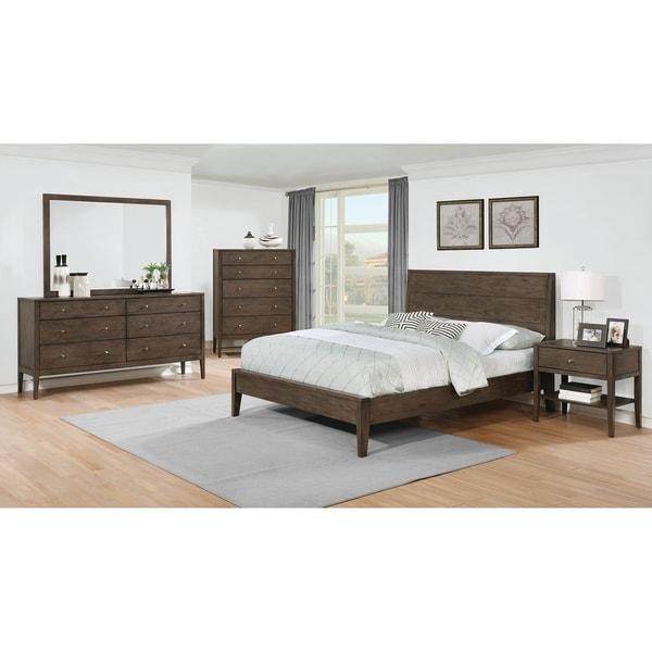 Lubbock Mid Century Modern Brown Walnut 4 Piece Bedroom Set Free Shipping Today 27591189