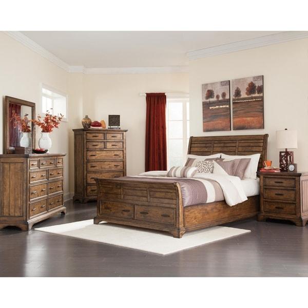 Canoga Heights Rustic Vintage Bourbon 4-piece Storage Bedroom Set