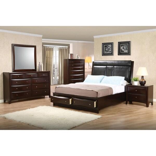Colebrook Cappuccino 5-piece Upholstered Storage Bedroom Set